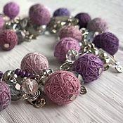 Украшения handmade. Livemaster - original item Bracelet on a Chain with Textile Beads Pink Lilac Grey. Handmade.