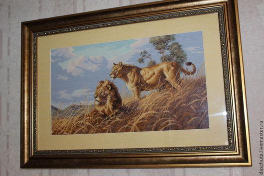 Животные ручной работы. Ярмарка Мастеров - ручная работа. Купить Лев и львица. Handmade. Животные, африка, вышитая картина крестиком