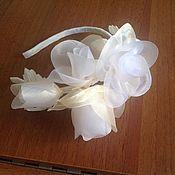 Свадебный салон ручной работы. Ярмарка Мастеров - ручная работа Ободок с розами из органзы. Handmade.