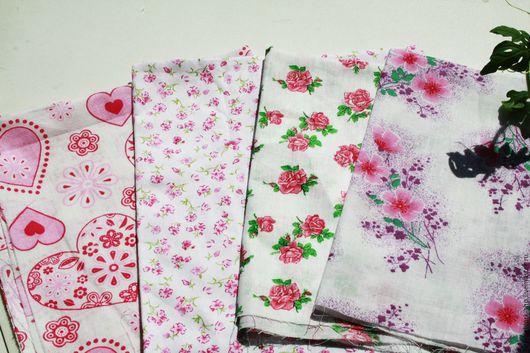 Шитье ручной работы.Ярмарка Мастеров- ручная работа. Купить Набор тканей Розовые цветы , 4 шт, хлопок. Ткани для творчества.Handmade.