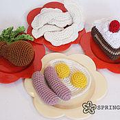 Куклы и игрушки ручной работы. Ярмарка Мастеров - ручная работа Вязаные крючком продукты (тортик, пельмени, курочка, яичница). Handmade.