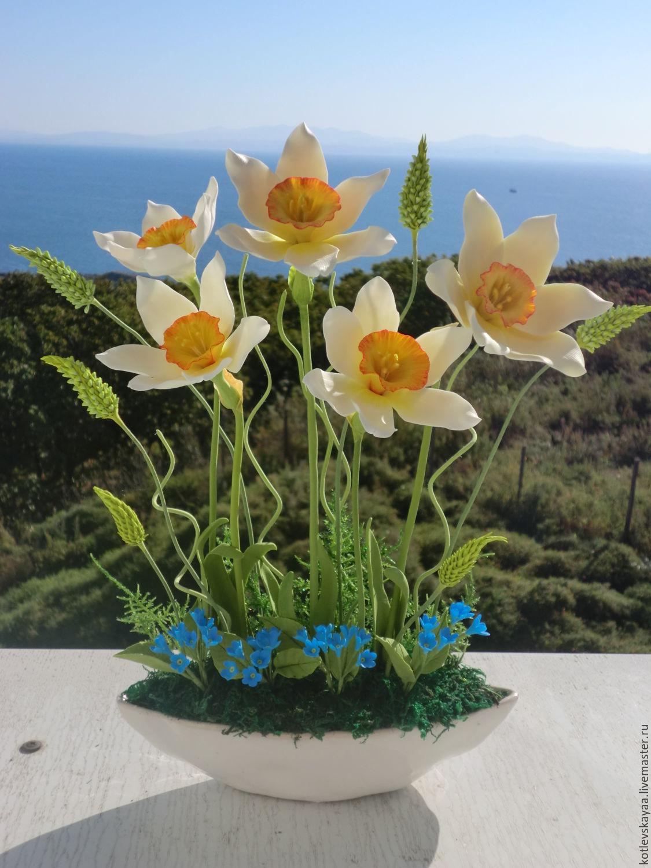 Цветы ручной работы. Ярмарка Мастеров - ручная работа. Купить Нарциссы и незабудки. Handmade. Весна, незабудки, 8 марта подарок