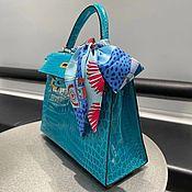 Сумки и аксессуары handmade. Livemaster - original item Classic bag made of genuine crocodile leather in turquoise color!. Handmade.