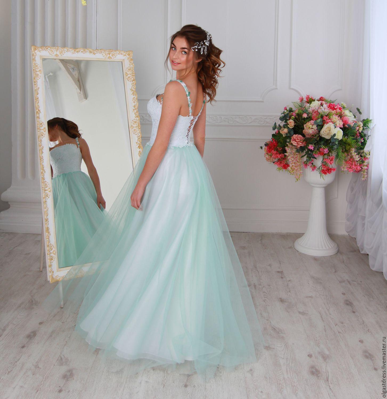 cd22ea566c8 ручной работы. Ярмарка Мастеров - ручная работа. Купить Свадебное платье  мятно- бирюзового цвета ...