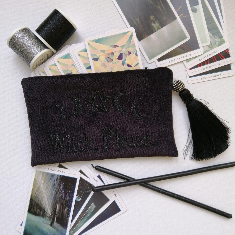 """Мешочек для карт Таро """"Witch, Please!"""", черный, Мешочек, Москва,  Фото №1"""