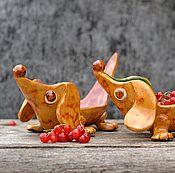 Посуда ручной работы. Ярмарка Мастеров - ручная работа Тарелка Такса золотисто-зеленая. Handmade.