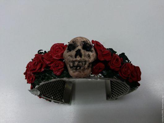 Браслеты ручной работы. Ярмарка Мастеров - ручная работа. Купить браслет из полимерной глины розы и череп. Handmade. Бордовый, череп
