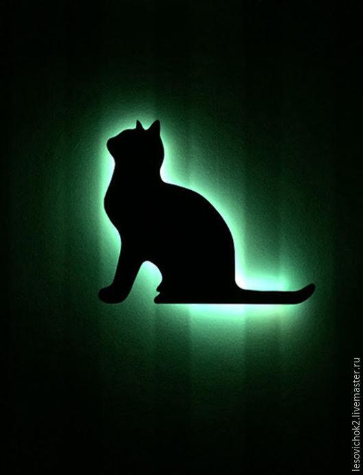 """Освещение ручной работы. Ярмарка Мастеров - ручная работа. Купить светильник-ночник """"кошка"""". Handmade. Ночник в детскую, освещение, черный"""