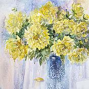 Картины и панно handmade. Livemaster - original item Watercolor painting with yellow dahlias Tenderness. Handmade.