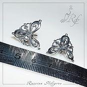 Материалы для творчества handmade. Livemaster - original item 1 pair Earrings Vintage silver plating, Russia. Handmade.