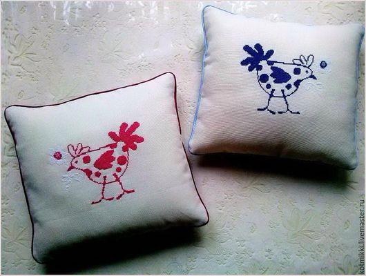 """Текстиль, ковры ручной работы. Ярмарка Мастеров - ручная работа. Купить Подушки """"Курочки"""". Handmade. Комбинированный, подушка в подарок, мулине"""