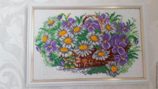 Картины цветов ручной работы. Ярмарка Мастеров - ручная работа. Купить Цветы в корзине. Handmade. Картина с цветами, картина в гостиную