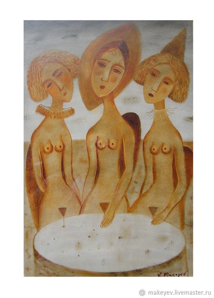 Люди, ручной работы. Ярмарка Мастеров - ручная работа. Купить Три грации. Handmade. Картина, коричневый, подарок, символизм, девушки
