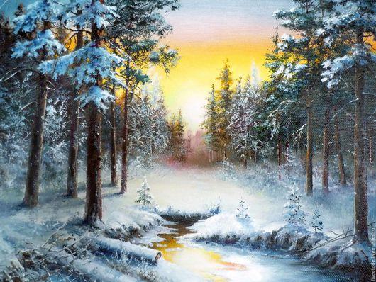 Ярмарка мастеров,Картина на заказ,картина маслом,пейзаж,зима, Работа может быть выполнена на заказ,на холсте или оргалите.