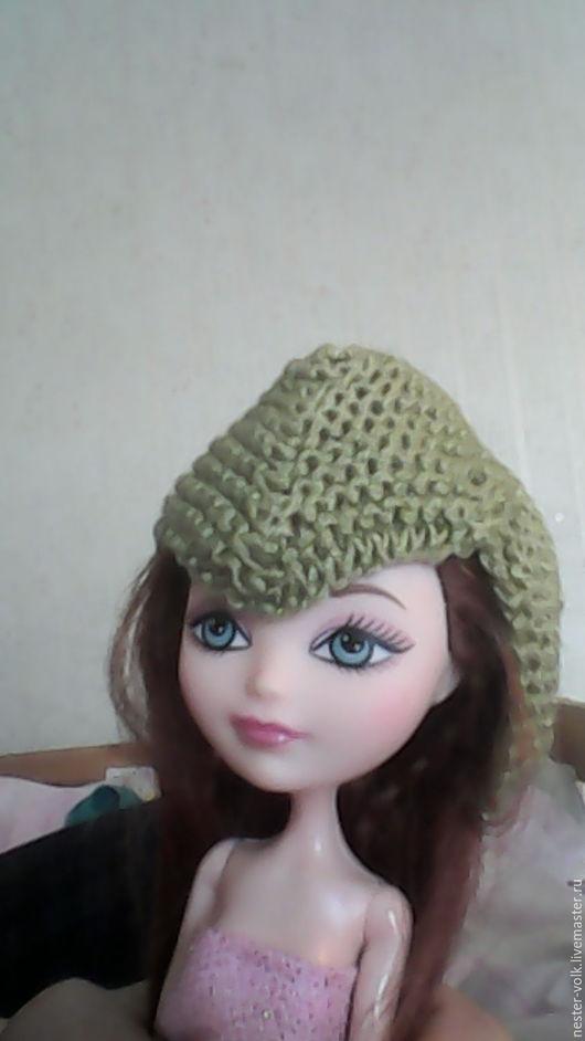 Одежда для кукол ручной работы. Ярмарка Мастеров - ручная работа. Купить Шапка зелёная для кукол. Handmade. Тёмно-зелёный, куклы