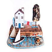 """Для дома и интерьера ручной работы. Ярмарка Мастеров - ручная работа Морская композиция """"Домик у моря"""" driftwood. Handmade."""