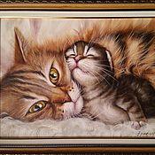 Картины и панно handmade. Livemaster - original item Oil painting with cat and kitten With mom. Handmade.