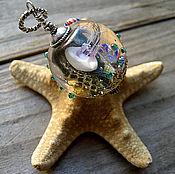 """Кулон аквариум """"Капля морского величия"""", новый. серебро"""