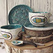 """Посуда ручной работы. Ярмарка Мастеров - ручная работа Керамический набор """"Рыбы"""". Handmade."""