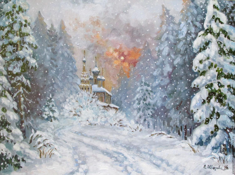 Elena Shvedova. Picture maslom Zimushka` ( canvas on cardboard, oil paint) 30h40., 2016, framed, in a frame - baguette ---- 39h49 cm.