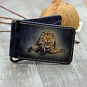 Сумки и аксессуары handmade. Livemaster - original item Clip for bills with a Lion pattern. Handmade.