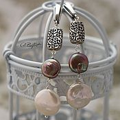 Украшения handmade. Livemaster - original item silver plated earrings with natural pearls