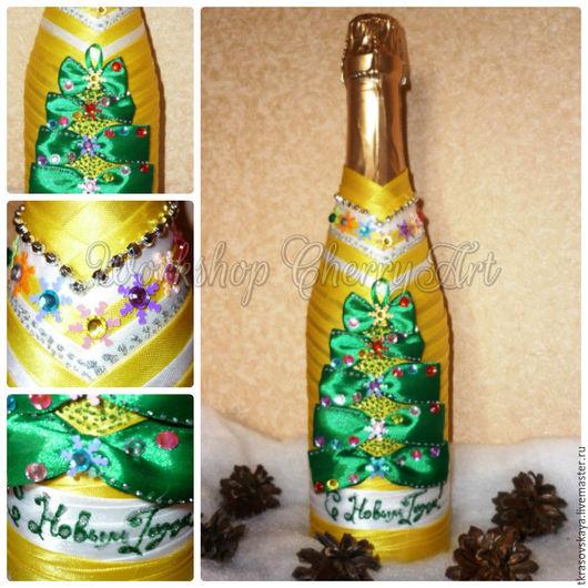 Подарочное оформление бутылок ручной работы. Ярмарка Мастеров - ручная работа. Купить Съемное украшение на бутылку Yellow. Handmade. Желтый