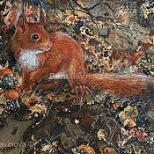 Картины и панно handmade. Livemaster - original item Painting with a squirrel. Mixed media graphics.. Handmade.