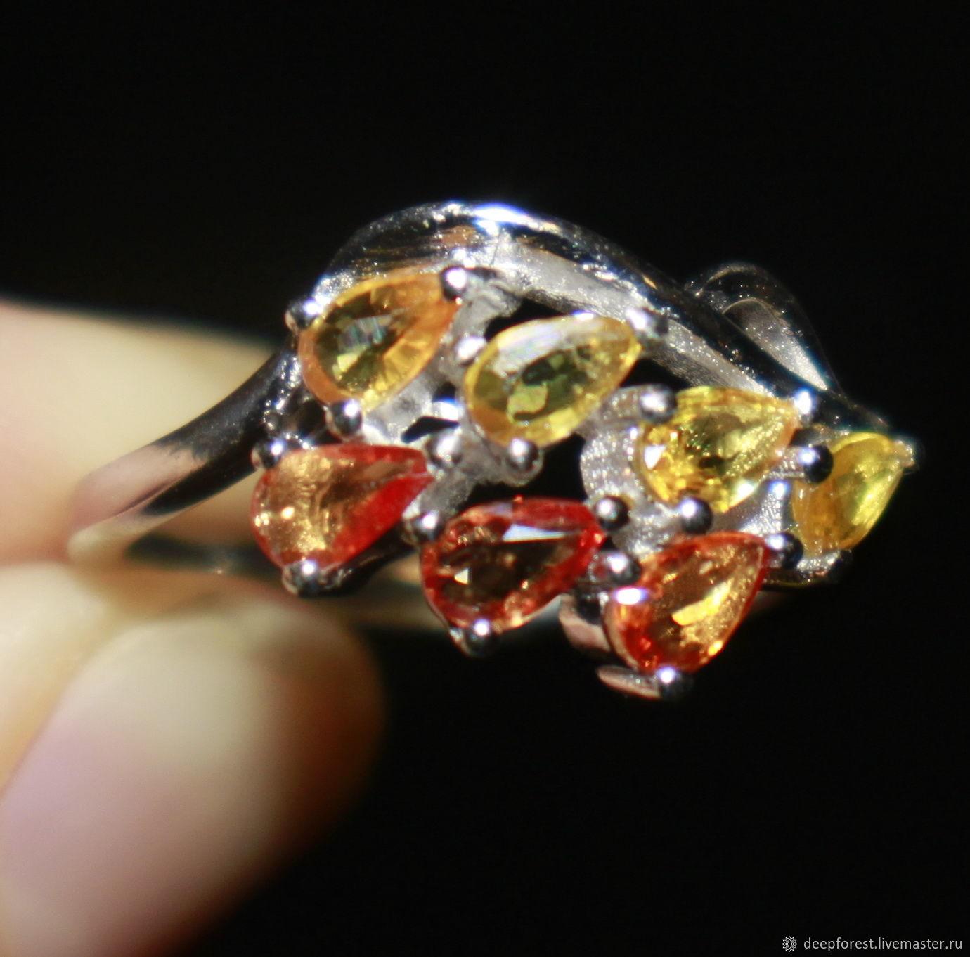 Кольцо с желтыми и оранжевыми сапфирами ; кольцо сапфиры натуральный, Кольца, Москва,  Фото №1