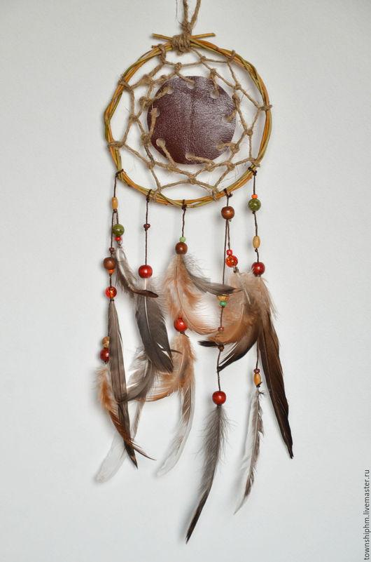 """Ловцы снов ручной работы. Ярмарка Мастеров - ручная работа. Купить Этнический ловец снов с кожаной вставкой """"Индейский талисман"""". Handmade."""