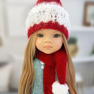"""Куклы и игрушки ручной работы. Ярмарка Мастеров - ручная работа Набор шапочка и шарфик для куклы """" В ожидании чуда""""))). Handmade."""