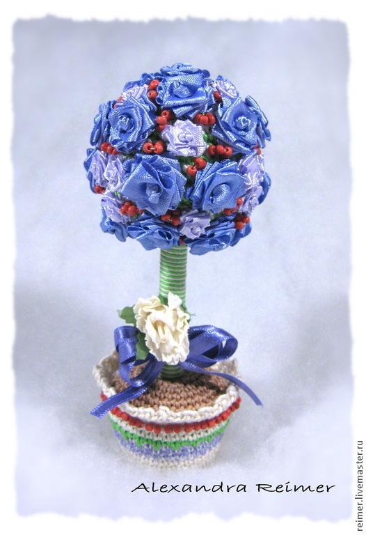 """Топиарии ручной работы. Ярмарка Мастеров - ручная работа. Купить Топиарий """"Синие розы"""". Handmade. Синий, сувениры и подарки, хлопок"""
