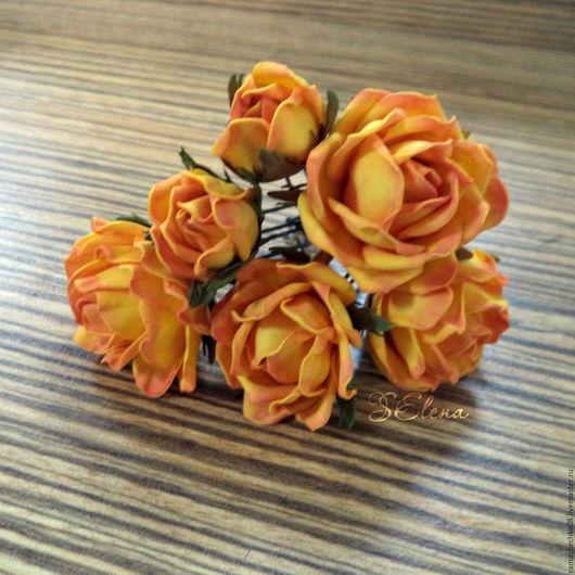 Заколки ручной работы. Ярмарка Мастеров - ручная работа. Купить Чайные розы на шпильке. Handmade. Оранжевый, розочки, шпильки для невесты