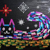 Картины ручной работы. Ярмарка Мастеров - ручная работа Волшебный кот. Картина из голографического скотча + Акриловая живопись. Handmade.