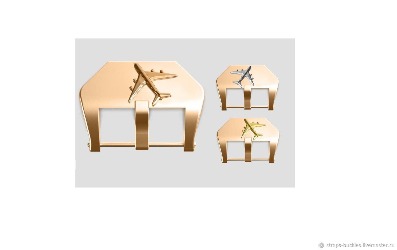 Часовая пряжка (бакля) из бронзы/латуни со вставкой Лайнер 22,24 мм, Часы наручные, Москва,  Фото №1