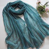 Аксессуары handmade. Livemaster - original item Stole scarf knitted from kid mohair dusty turquoise scarf stole. Handmade.