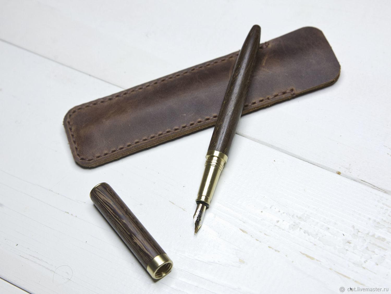 Ручка перьевая с чехлом из натуральной кожи, Ручки, Санкт-Петербург,  Фото №1