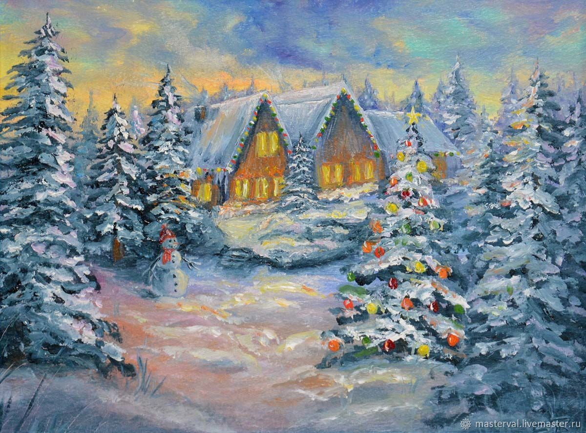 Picture miniature Christmas tree, Friendly New year, 20h15, oil, Pictures, Voronezh,  Фото №1