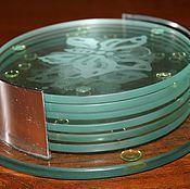 Винтаж handmade. Livemaster - original item Set of six glass coasters for bottles, mugs,etc. Germany. Handmade.