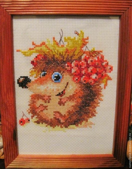 """Животные ручной работы. Ярмарка Мастеров - ручная работа. Купить Вышивка """"Осенний ёжик"""". Handmade. Ежик, вышивка, мулине, осень"""