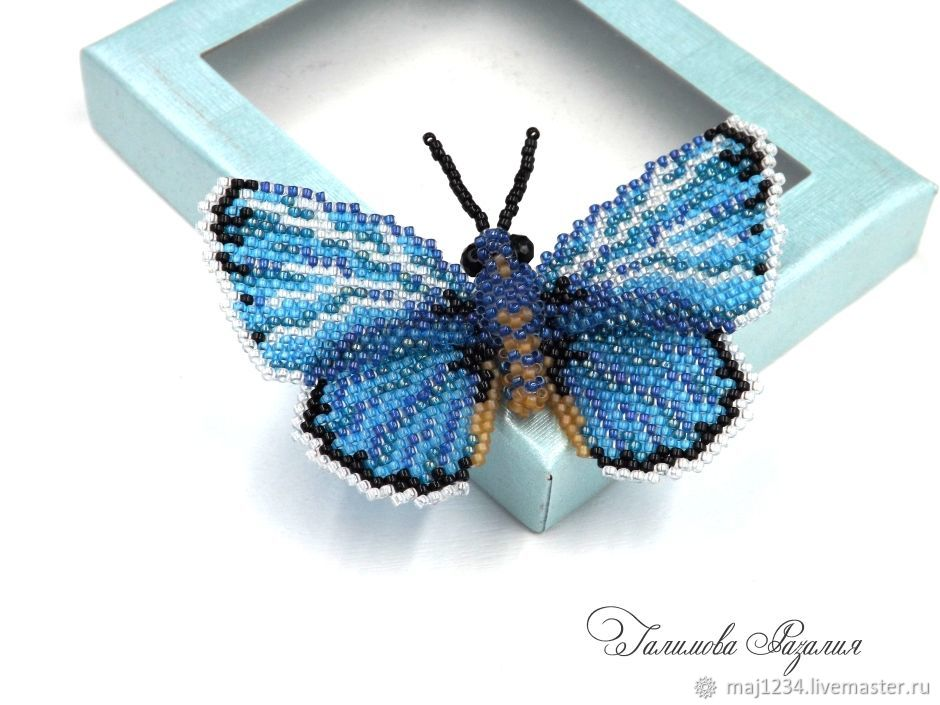 "Брошь бабочка из бисера ""Голубянка"", Брошь-булавка, Магнитогорск,  Фото №1"