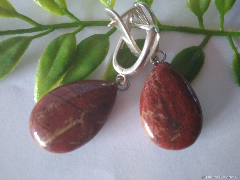 Earrings Silver ' Jasper Red Calico', Earrings, Moscow,  Фото №1