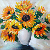 Pictures handmade. Livemaster - original item Sunflowers in a vase. Handmade.