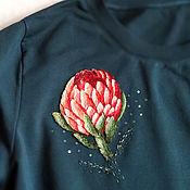 Украшения handmade. Livemaster - original item Embroidery on clothing stripe protea brooch flower sweatshirt with embroidery. Handmade.