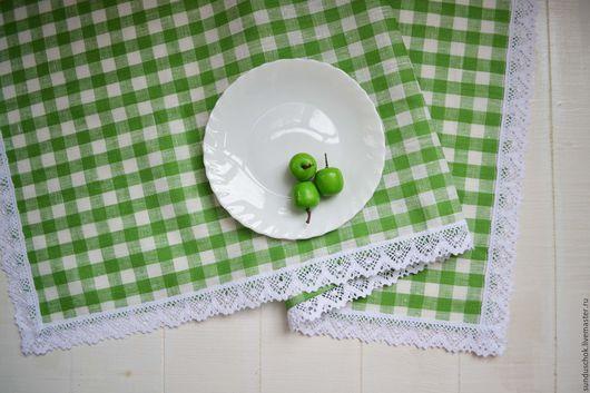Текстиль, ковры ручной работы. Ярмарка Мастеров - ручная работа. Купить Скатерть-раннер с белым  кружевом, дорожка-скатерть в клеточку. Handmade.