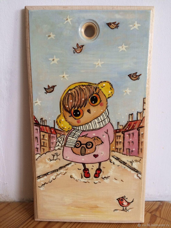 Доска разделочная деревянная расписная Сова, Утварь, Москва,  Фото №1
