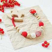 Одежда handmade. Livemaster - original item Holder with teething toy-horse red beige milk. Handmade.