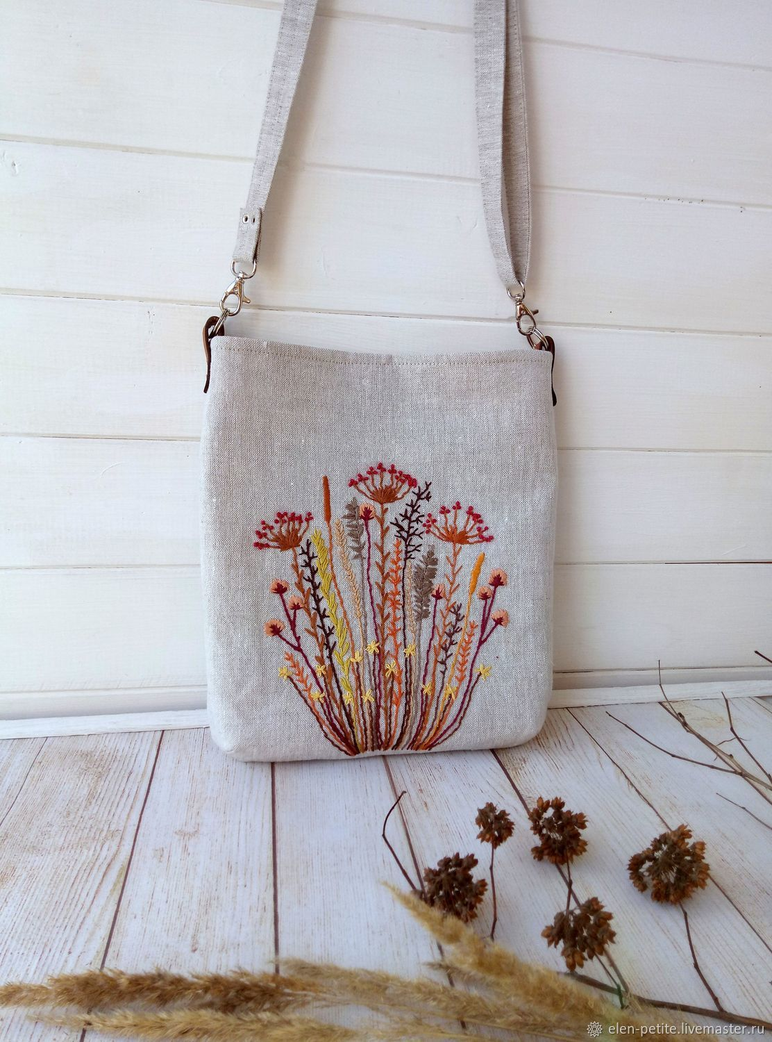 Linen bag with hand embroidery/ ' dried Flowers', Crossbody bag, Nizhnekamsk,  Фото №1