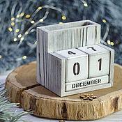 Для дома и интерьера handmade. Livemaster - original item Perpetual Calendar with pencil holder decor Perpetual Calendar Wooden. Handmade.