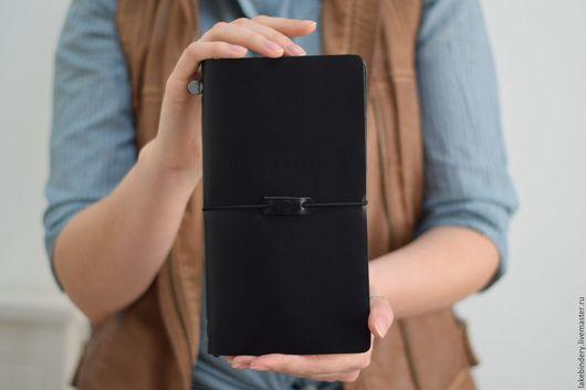 записная книжка из натуральной кожи чёрного цвета, записная книжка купить, записные книжки на заказ, купить записную книжку со сменными блоками